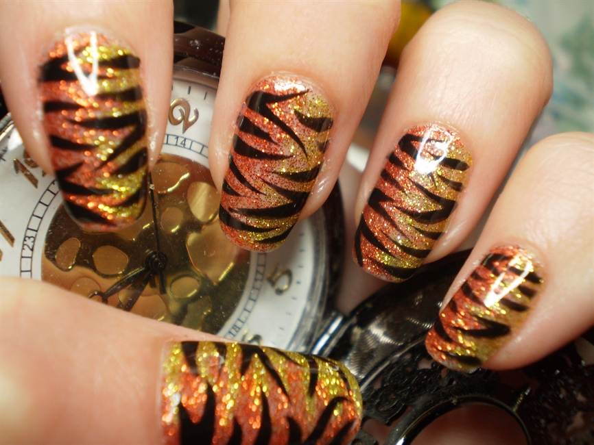 Orangegold Glitter Tiger Stripe Nail Art Gallery