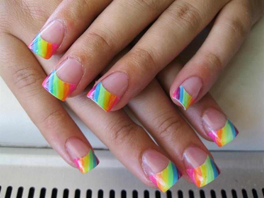 Neon Rainbow Tips - Nail Art Gallery