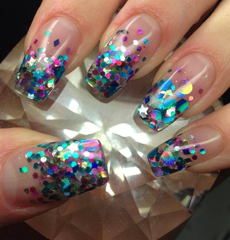 Light Blue Acrylic Nails Design Sparkle