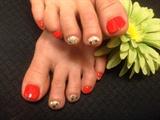 Orange&Gold Pedi