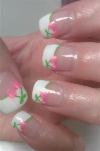 French tip with pink cherries