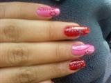 red n pink nail art