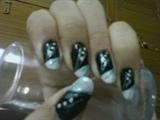 black n silver nail art