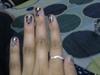 black n white nail marbelling