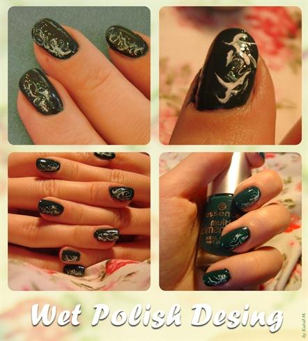 Dark Green Wet Nail Polish Design Nail Art Gallery
