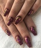 Burgundy Nails With Chameleon Flakes