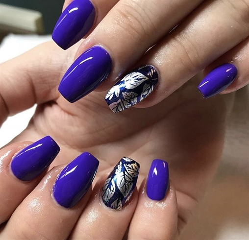 Purple Acrylic Nails With Feature Nail