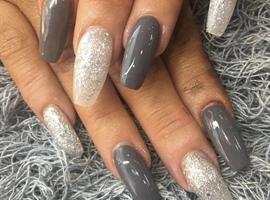 nail art: Long Grey And Silver Acrylic Nails