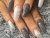 Long Grey And Silver Acrylic Nails