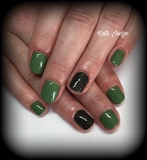 Green And Black Khaki Natural Nails