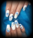 White Nails With Floral Decals