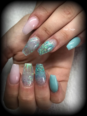 Mermaid Inspired Acrylic Nails