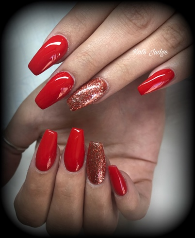Classy Red Nails Christmas Valentines