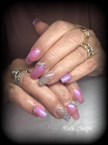 Pink And Glitter Nails With Swarovski