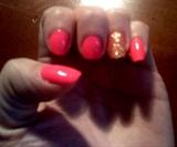 Neon Pink w/ Gold Sparkle