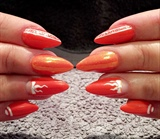 Handpainted Coral Gel Polish design