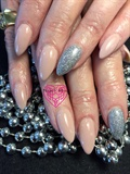 Nude With Glitter Accent Nail