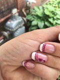 French Manicure With Pink Dots/Hearts