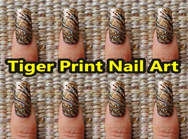 Tiger Print Nail Art Design