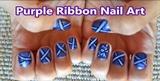 Purple Ribbon Nail Art Design