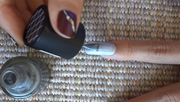 Apply base coat and silver nail polish.
