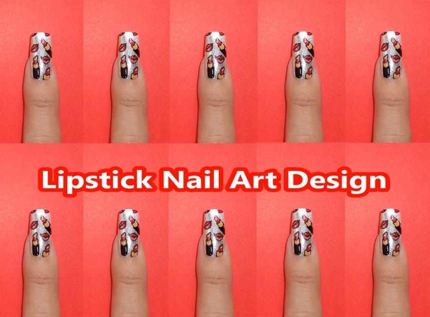 Lipstick Nail Art Design - Nail Art Gallery Step-by-Step Tutorial Photos