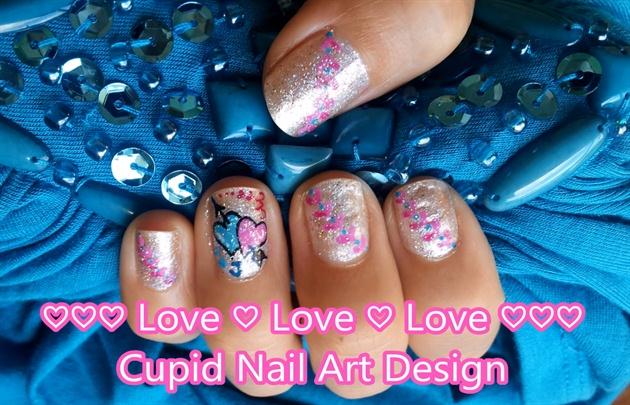 Love Love Love Cupid Nail Art Design