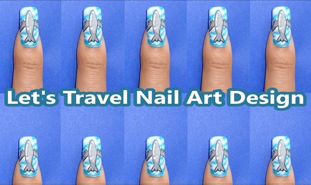 Lets travel nail art design nail art gallery step by step let39s travel nail art design prinsesfo Choice Image