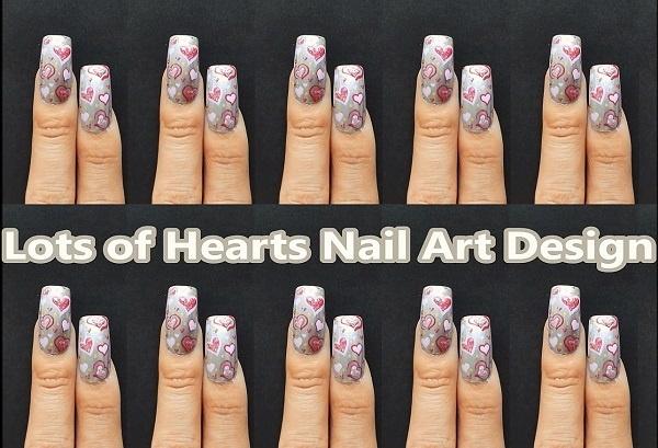 Lots Of Hearts Nail Art Design