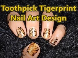 Toothpick Tigerprint Nail Art Design