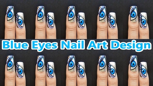 Blue Eyes Nail Art Des