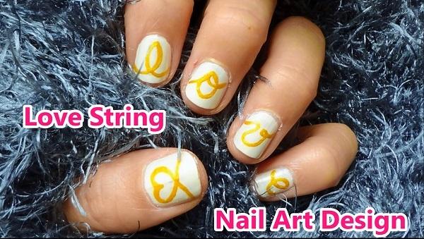Love String Nail Art Design Nail Art Gallery Step By Step Tutorial