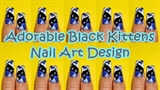 Adorable Black Kittens Nail Art Design
