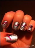 Silver with pink and black lines