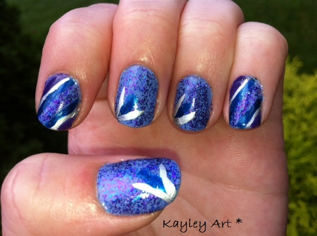 Blue with glitter design!