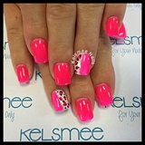 Neon Pink Gelpolish Leopard Nailart