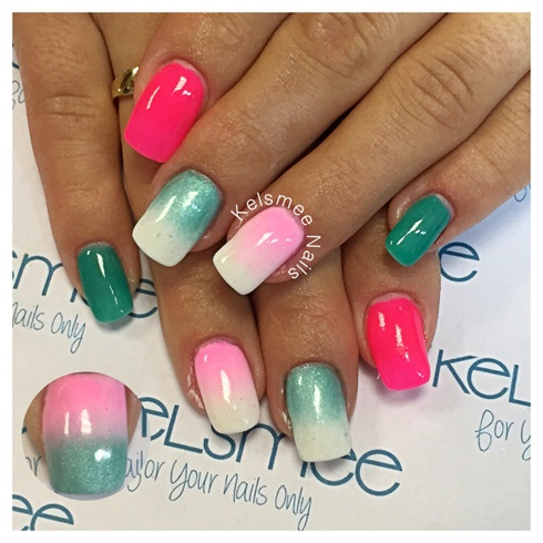 Fading Pink White And Green Nails