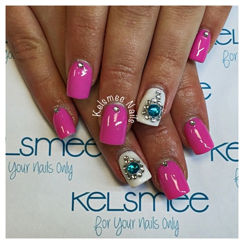 pink nails with rhinestones  nail art gallery