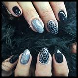 Black Nails ManiQ With Silver Accents