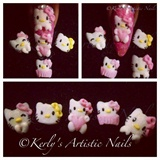 3d Kawii - Hello Kitty Nail Design