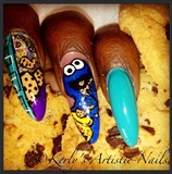 Cookie Monster Inspired Nailart