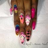 Fancy Kitty. Hello Kitty inspired Nails