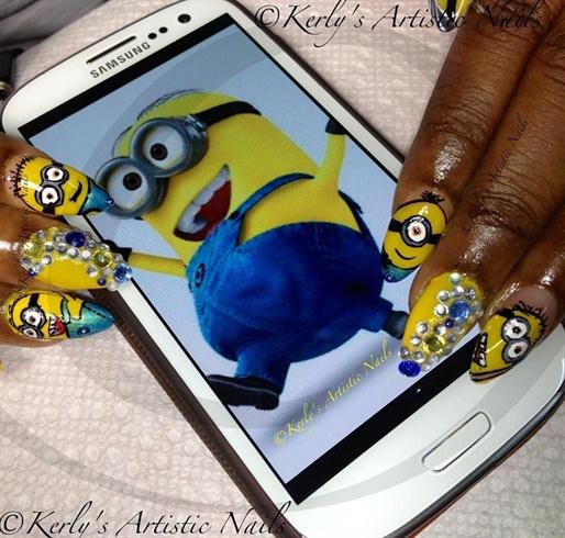 Minions inspired nail art design