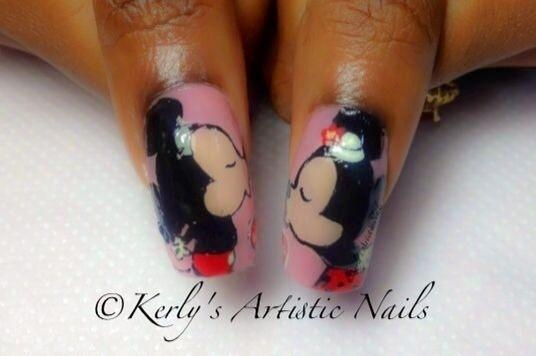 Mickey And Minnie Mouse Nail Art Kisses Nail Art Gallery