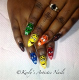 M&M's inspired Nail Art