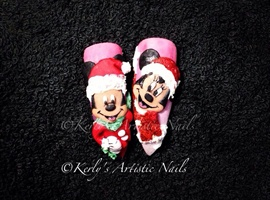 Mickey and Minnie Mouse Christmas Nails