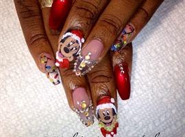 Christmas Nail Art - Mickey and Minnie