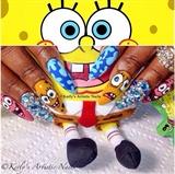 Sponge Bob Square Pants Nail Art Design