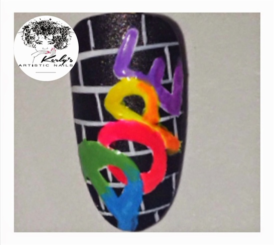 Using colors of your choice polish over the letters in no particular style.\n(Colorful nails make me happy. lol)