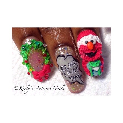 Christmas Inspired Nails-Elmo Loves You!